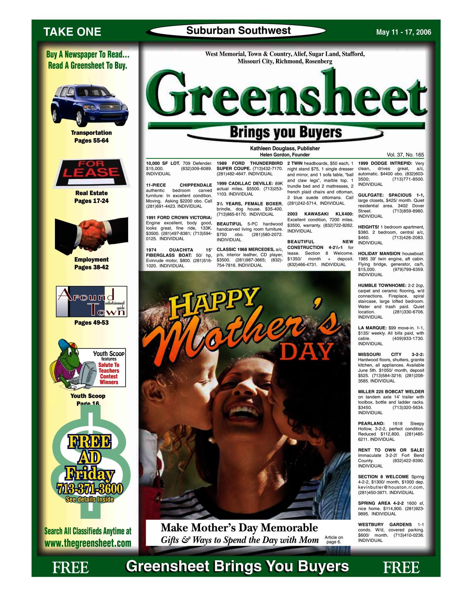 Greensheet Houston Tex Vol 37 No 165 Ed 1