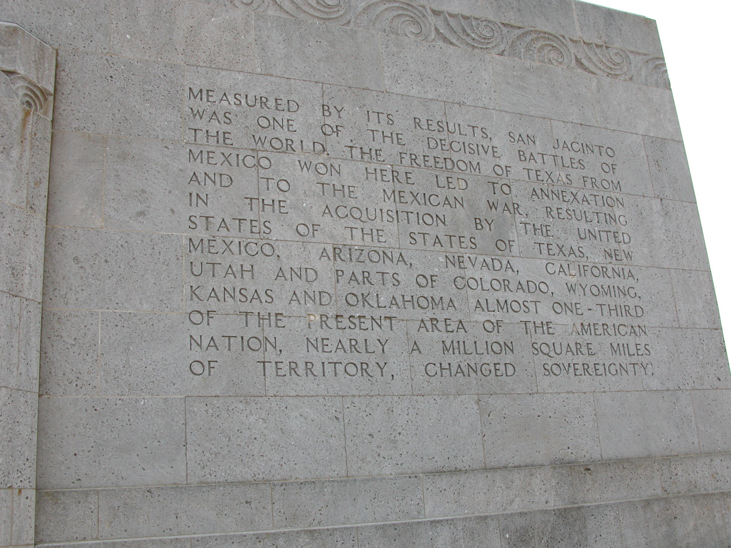 Engraved Frieze On The San Jacinto Monument Measured By