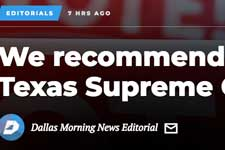 Dallas Morning News Endorses Justice Jeff Brown for Texas Supreme Court, Place 6