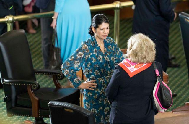 State Sen. Carol Alvarado, D-Houston, talked with retiring Sen. Jane Nelson (right), R-Flower Mound