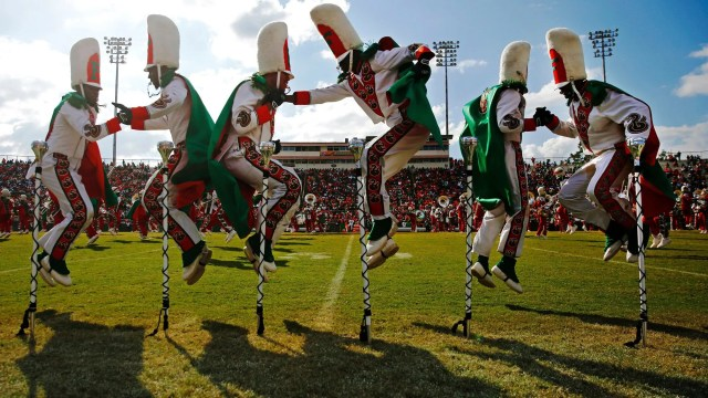 FAMU's Marching 100 drum majors perform during halftime for Florida A&M University's homecoming game against North Carolina A&T at Bragg Memorial Stadium in Tallahassee, Fla., Oct. 14, 2017