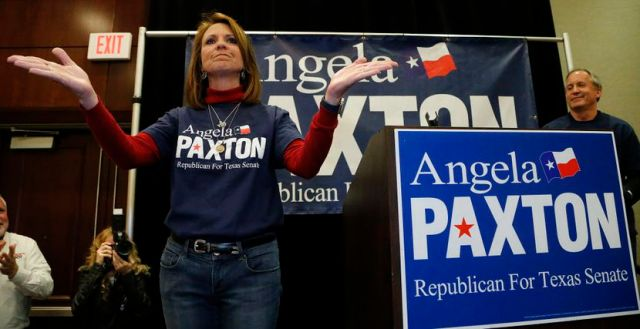 Angela Paxton acknowledged the applause of supporters at her election return party