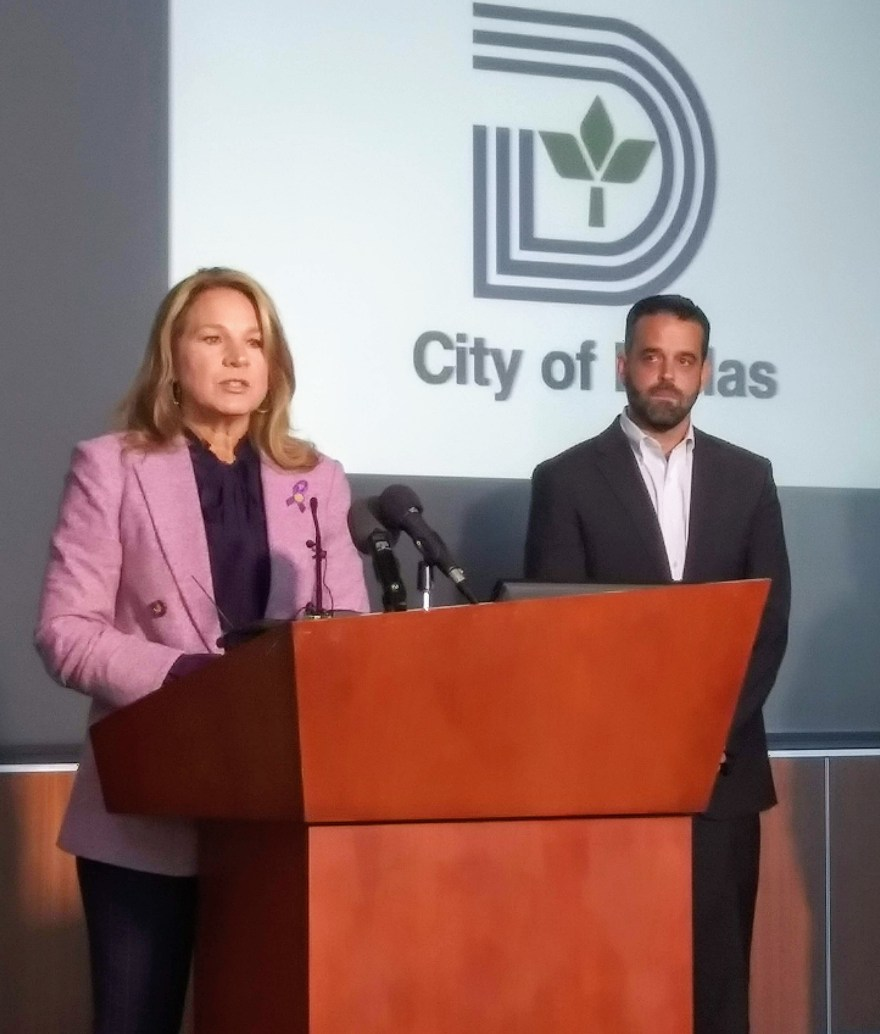 Councilwoman Jennifer Gates, Chair of the Mayor's Domestic Violence Advisory  Council; and City Councilman Adam McGough, Chair of the Public Safety Committee