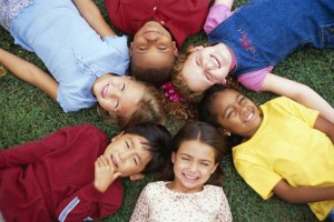 School kids circle