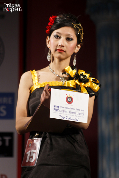 First Runner Up Sajina Shakya Giving her final answer at Top Seven Round. (Photo: Nirnit Tandukar/TexasNepal)