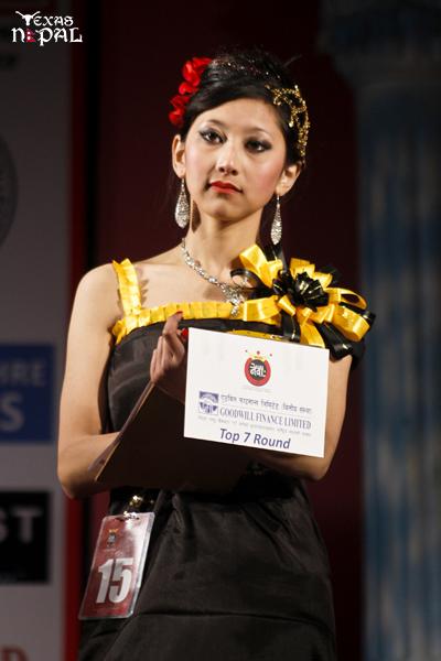 First Runner Up Sajina Shakya Giving her final answer at Top Seven Round. (Photo: Nirnit Tandukar/TexasNepal)