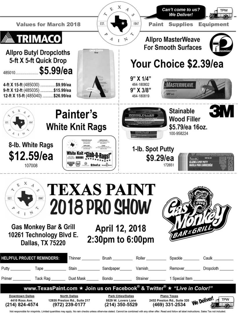 Texas Paint March Savings