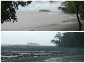 Comparison of low and high tide at Casa Astrid. During low tide, that island could be walked to.