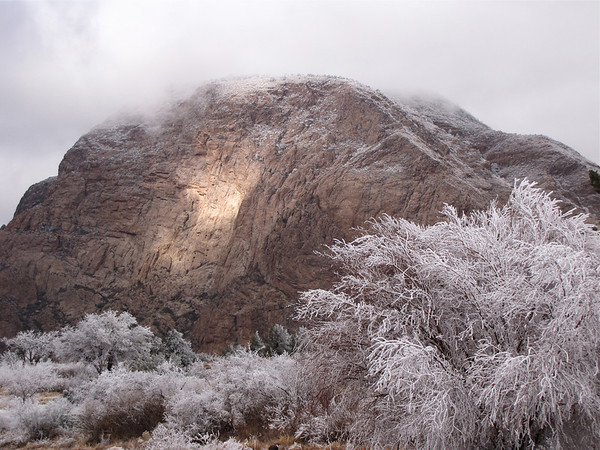 Snow and light play in the Chisos Basin