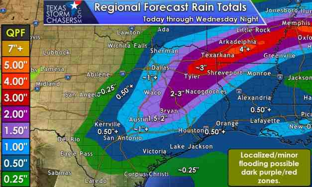 Widespread Soaking Rains for Eastern Half of Texas Tomorrow; Some Strong Storms Too?