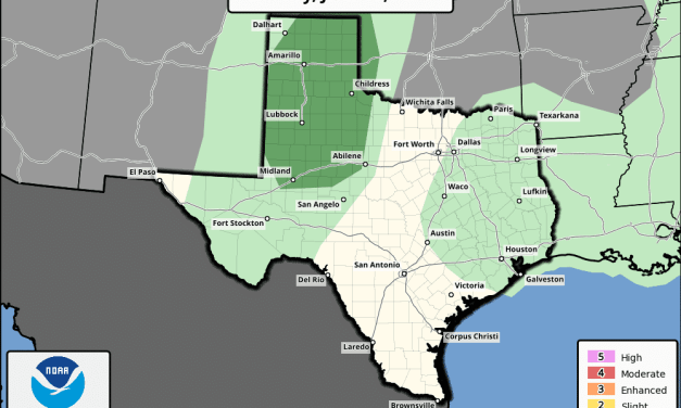Slight Chance (Level 1) of Strong to Severe Storms Across the Panhandle Today