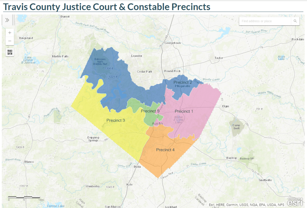 travis county justice court map