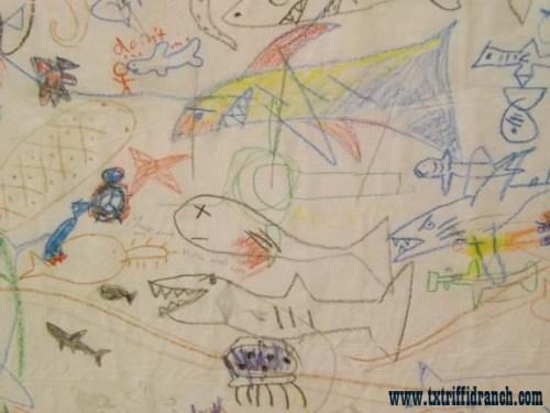 Shark mural closeup