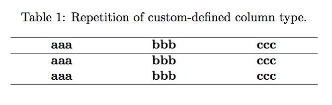 Repeat column type in LaTeX tabular – texblog