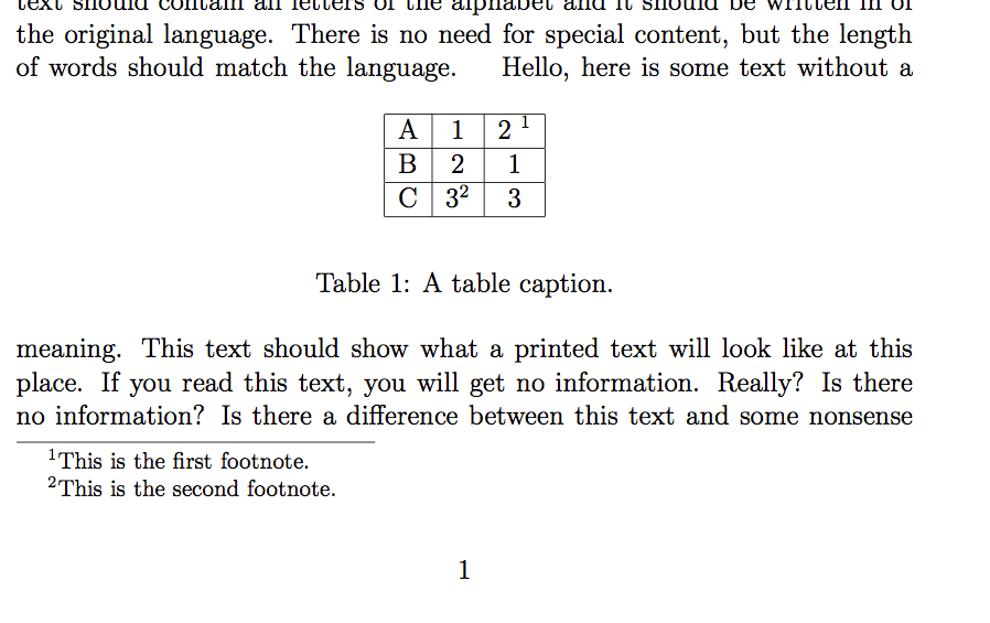 Using footnotes in tables – texblog