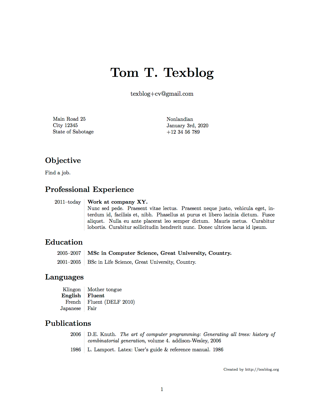 Writing a CV in LaTeX – texblog