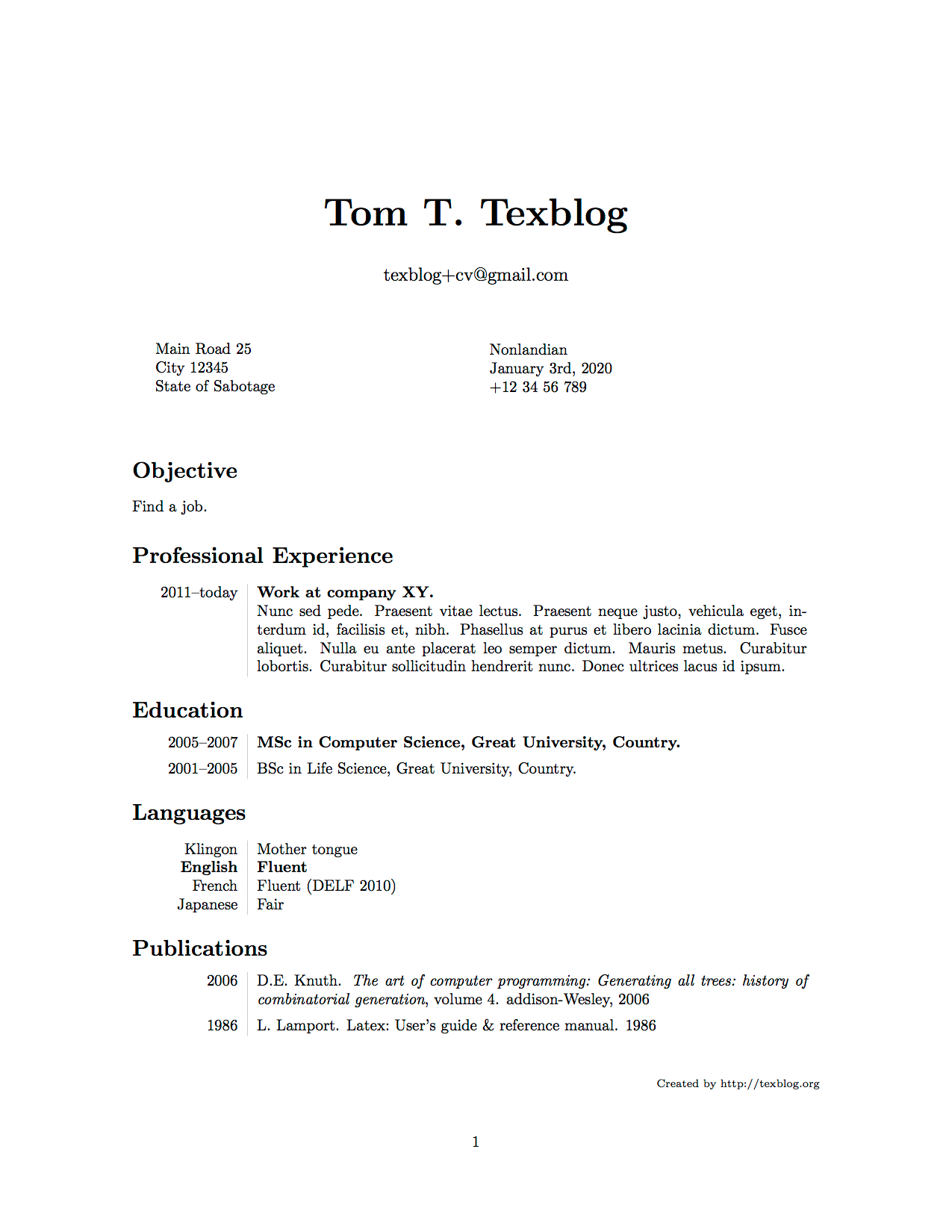 Writing a CV in LaTeX – texblog