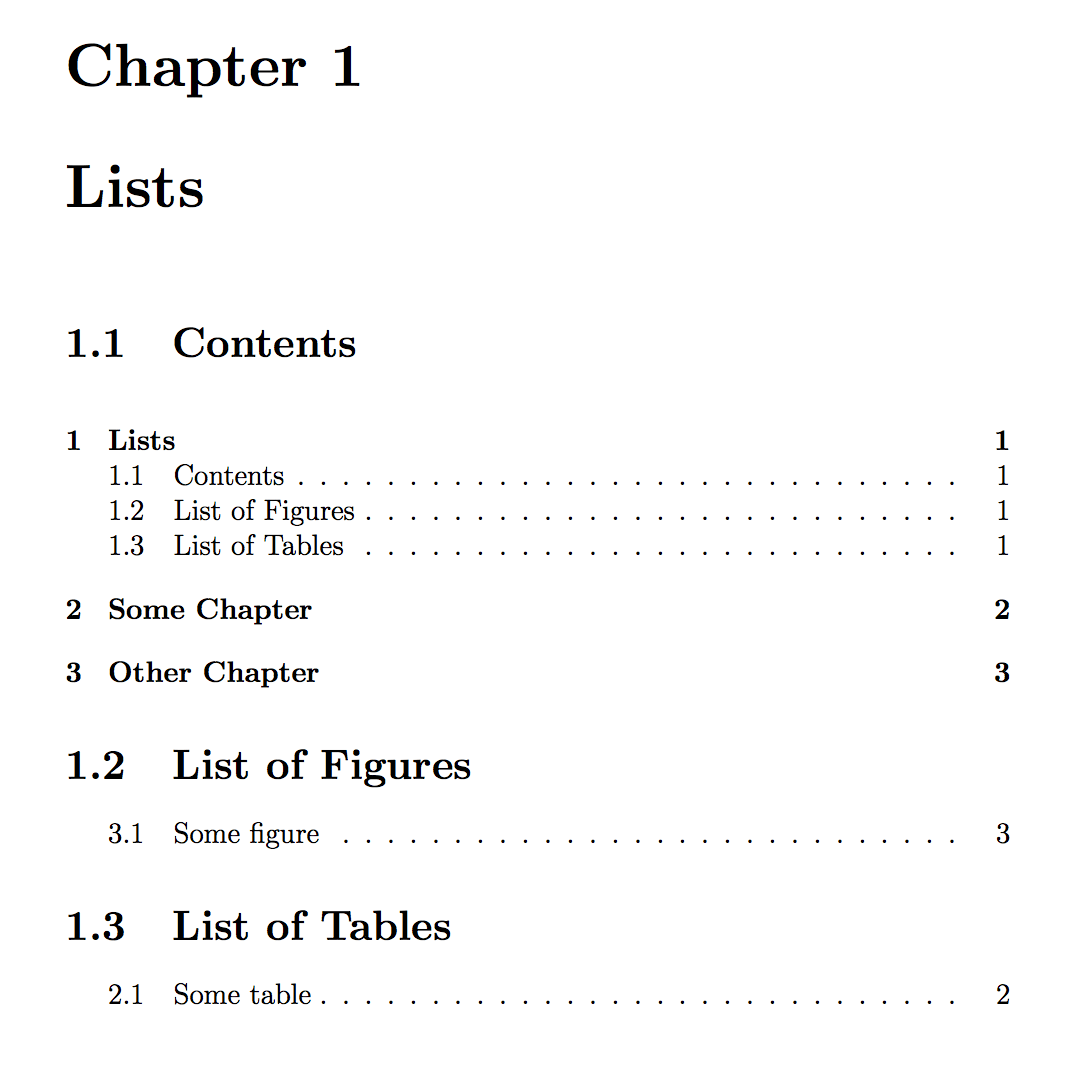Table Of Contents List Of Figures And Tables As Sections