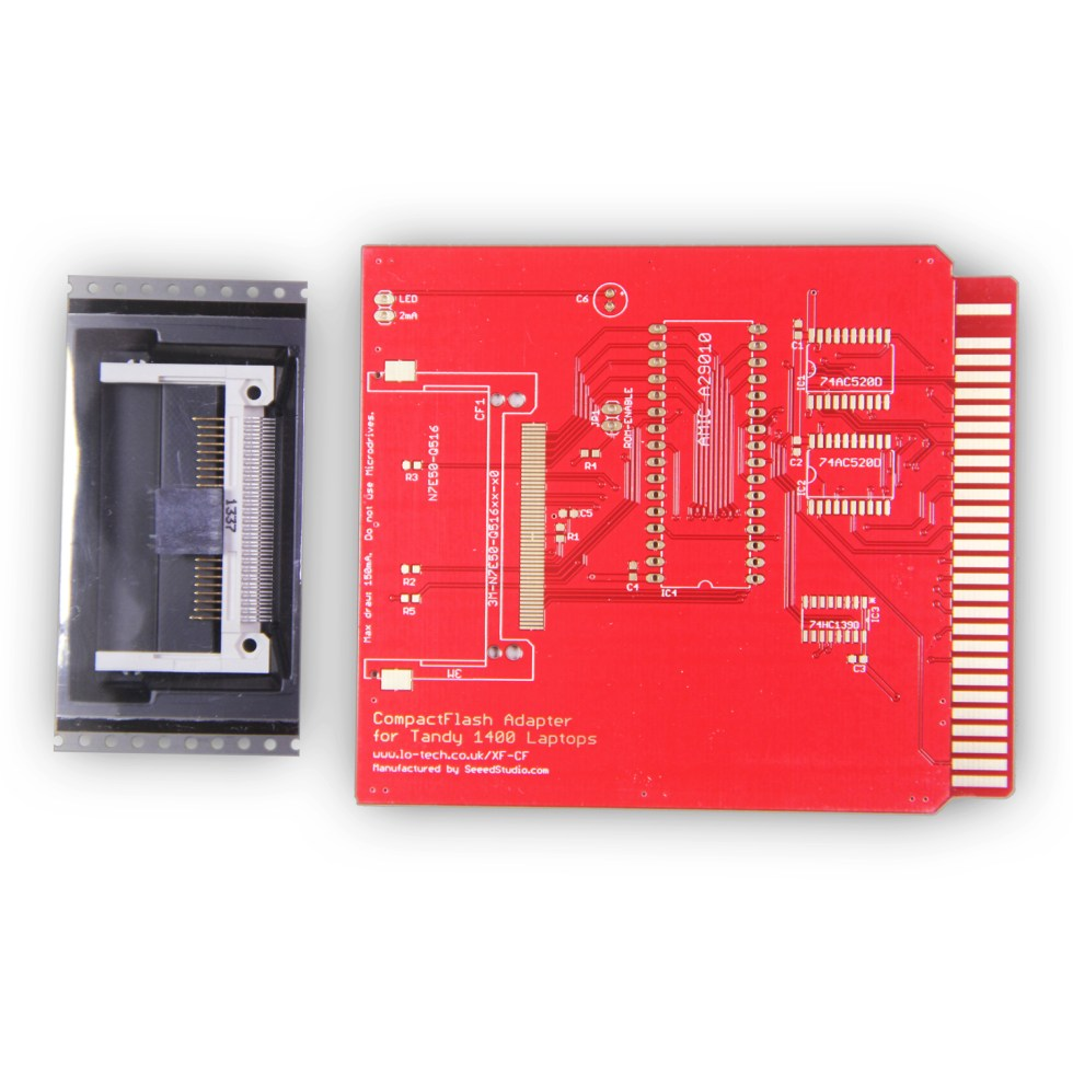 Lo-tech XT-CF Adapter for Tandy 1400 Laptops (PCB Only) with Socket