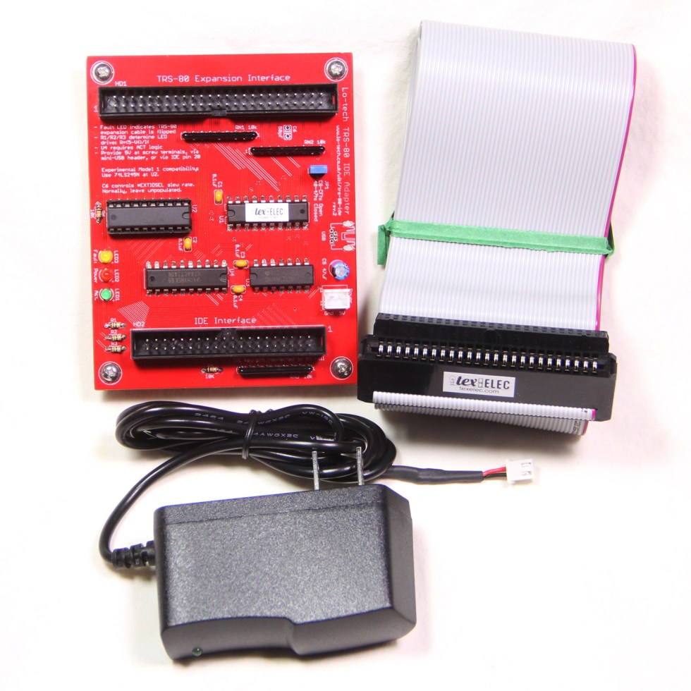 Lo-tech TRS-80 IDE Adapter rev. 2 with Cable