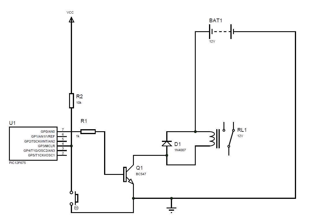 5 Second Delay Relay Driver Using Pic12f675