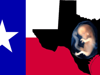 Texas flag, map and unborn Texan