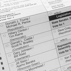 2016 presidential election ballot