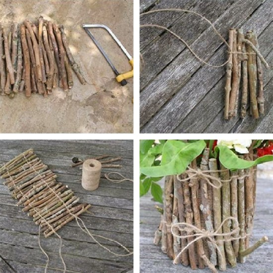 γλάστρες από κλαδιά και ξύλο δέντρου2