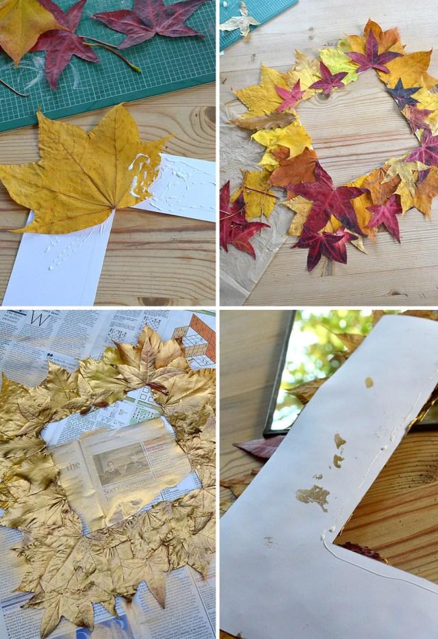 DIY Καθρέφτης με Χρυσά φύλλα4