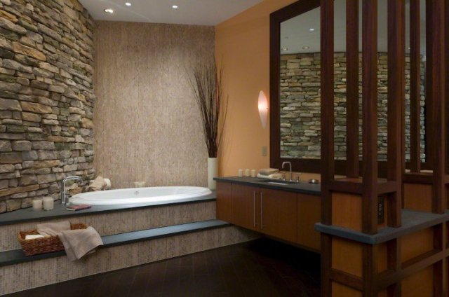 Ζεστά Σχέδια Μπάνιου με πέτρινους τοίχους11