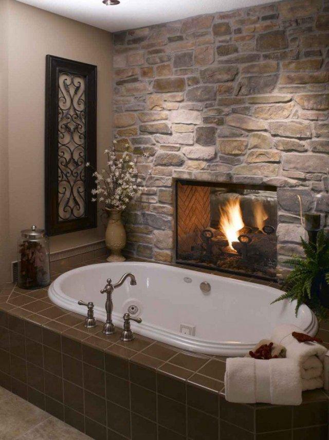 Ζεστά Σχέδια Μπάνιου με πέτρινους τοίχους3