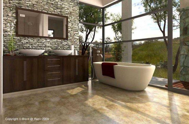 Ζεστά Σχέδια Μπάνιου με πέτρινους τοίχους8