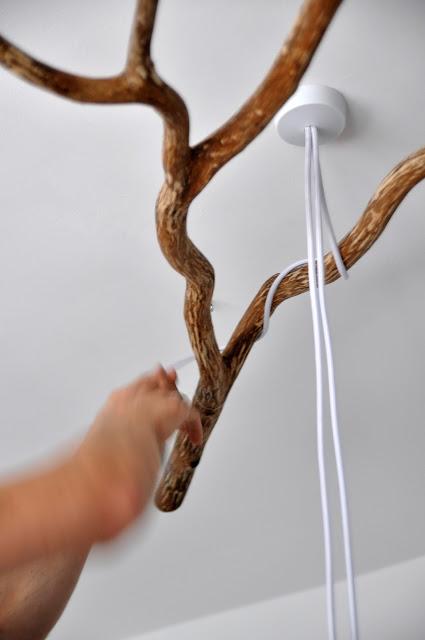 DIY πολυέλαιος απο κλαδιά δέντρου4