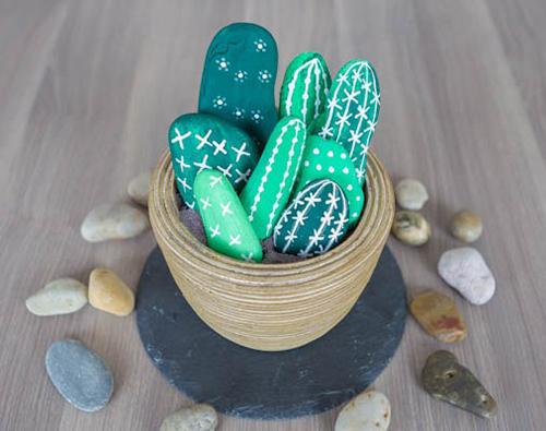 Diy Κάκτοι από πέτρες (7)