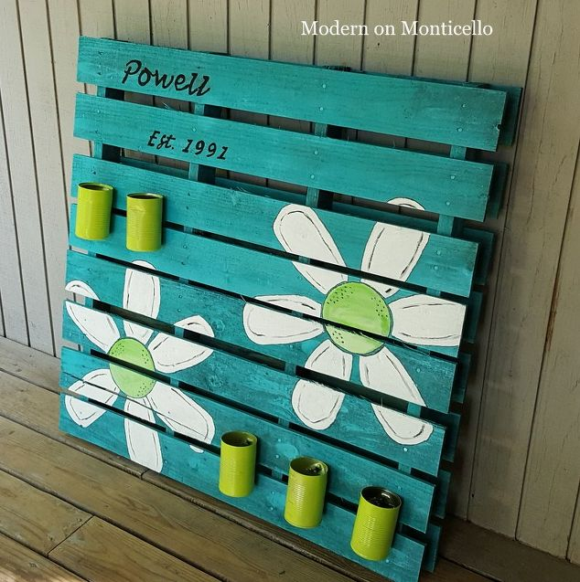 Diy παλέτα σήμα και γλάστρα κήπου2