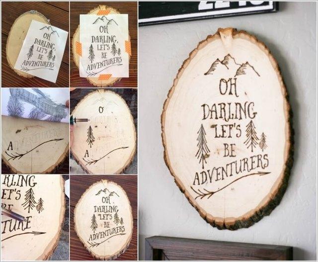 diy ιδέες διακόσμησης τοίχου με φέτες ξύλου6