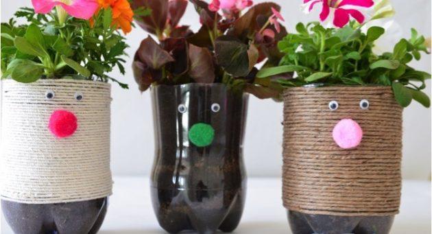 DIY γλάστρες από πλαστικά μπουκάλια13