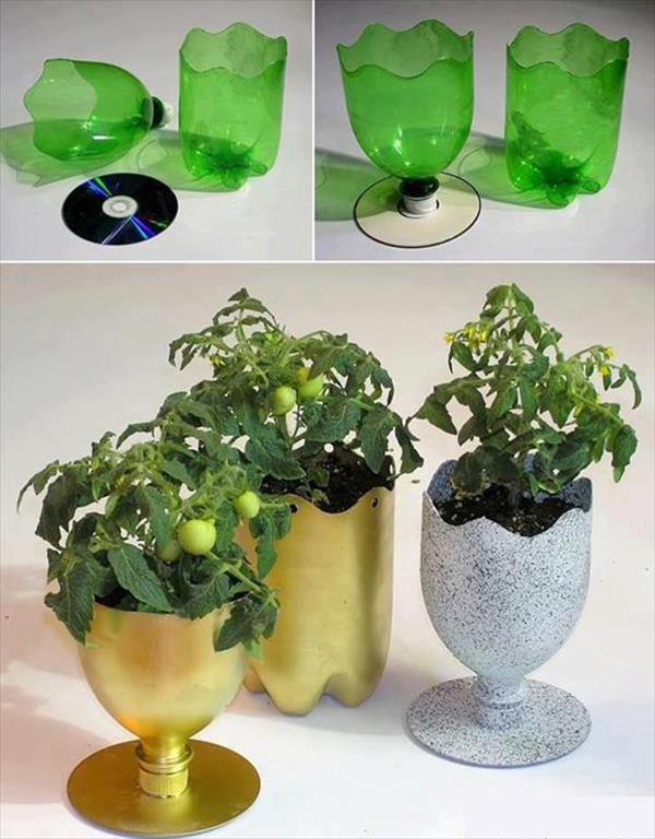 DIY γλάστρες από πλαστικά μπουκάλια8