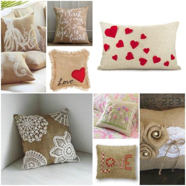 μαξιλάρια από λινάτσα και δαντέλα