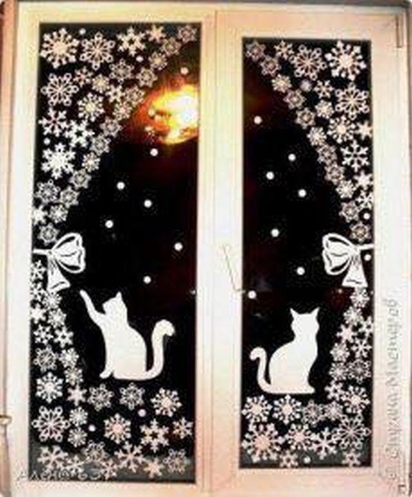 Χριστουγεννιάτικη διακόσμηση παραθύρων9