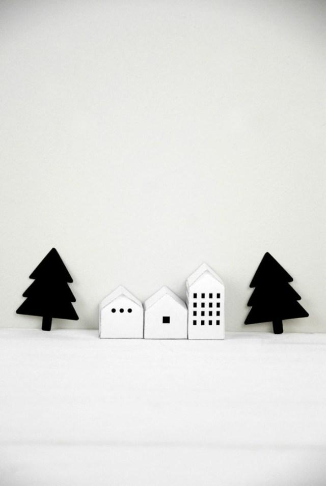 χριστουγεννιάτικη διακόσμηση σε άσπρο - μαύρο1