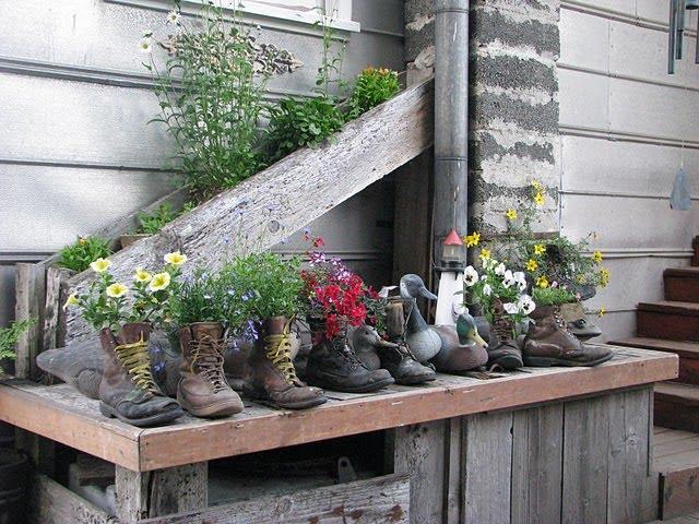 γλαστρες από παλιά παπούτσια11