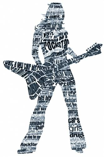 Рок-звезда - Рисунки из букв и символов, типографика ...