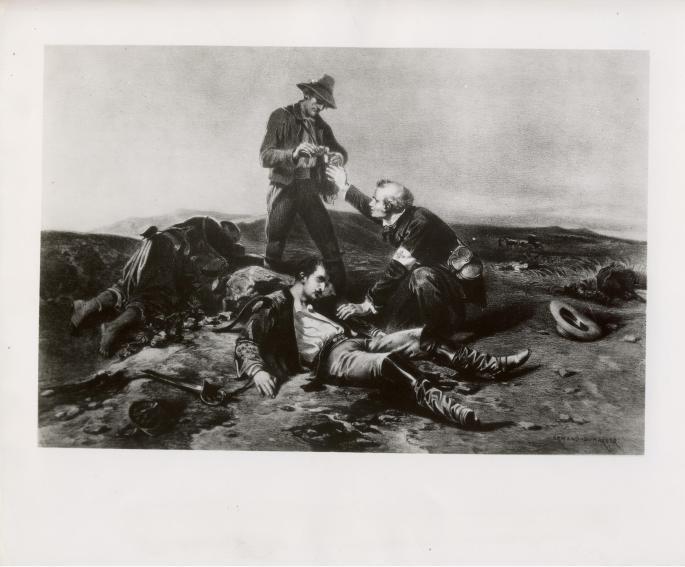 image of three figures on a battlefield.