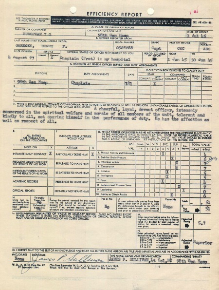 Efficiency Report for Henry F. Gerecke, 7/1/1945, NAID 299741