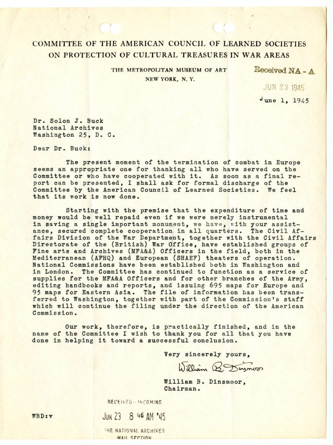 Letter from ACLS Chairman William Dinsmoor to AOTUS Solon Buck