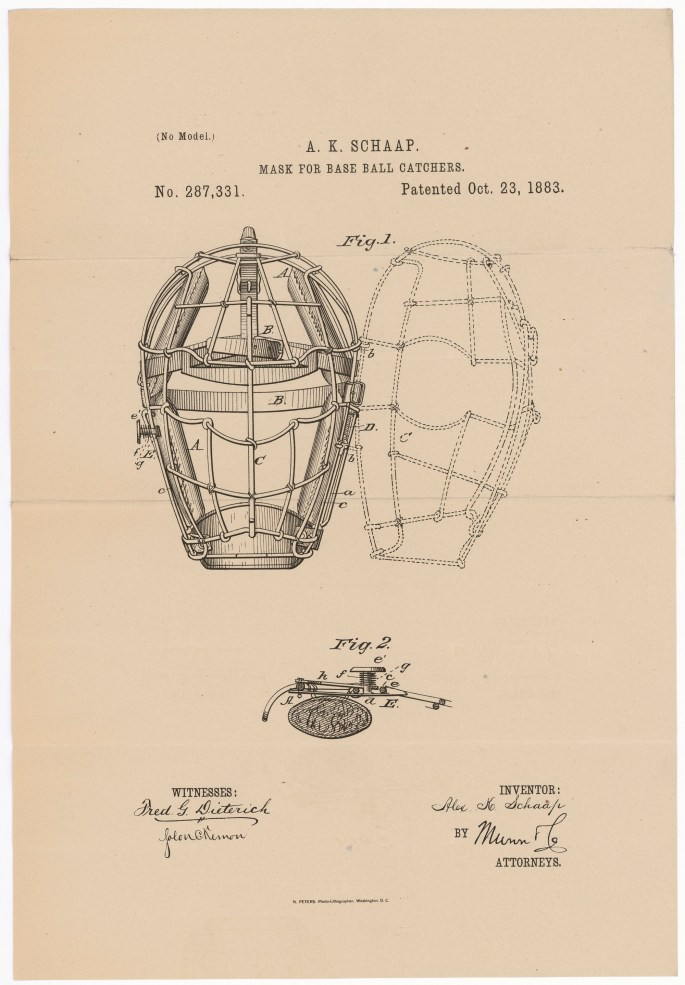 Design for Masks for Base Ball Catchers By Alexander K. Schaap of Richmond, Virginia Patented October 23, 1883