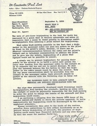 Letter from Dr. Lent to Vice President Spiro Agnew, 9/5/1970, p1