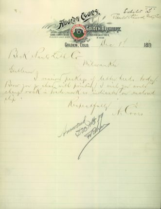 Coors letter asking to change the appearance of the rock