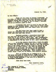 Roosevelt letter January 15, 1942